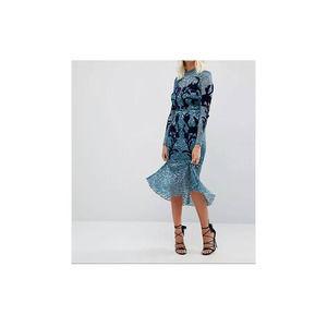 Hope & Ivy Womens Floral Lace Velvet Appliqué Detail Pephem Dress 8 Long Sleeve